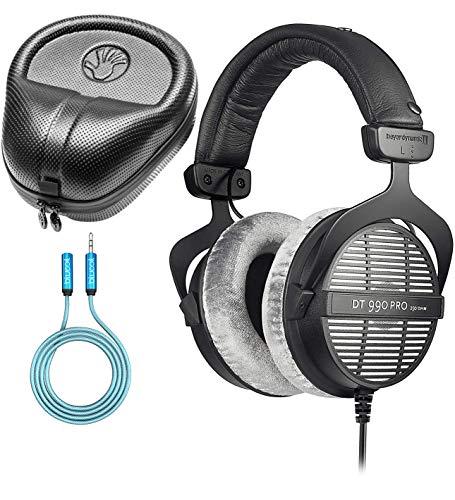 Beyerdynamic DT 990 PRO 250 Ohm Open Back Headphones Bundle with Blucoil 6-FT Headphone Extension Cable (3.5mm) and Slappa Full-Sized HardBody PRO Headphone Case