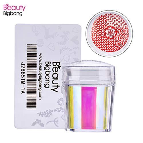 Beautybigang 1 Set Holografische Nagelstempel Gelee Silikon Nagelstempel mit Schaber Klarer Griff Stamping Tool Maniküre Nail Art Stamper Kit