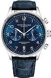 Stuhrling Original Reloj de vestir con cronógrafo de cuarzo para hombre, caja de acero inoxidable y correa de piel, esfera analógica con fecha GR1-Q para hombre