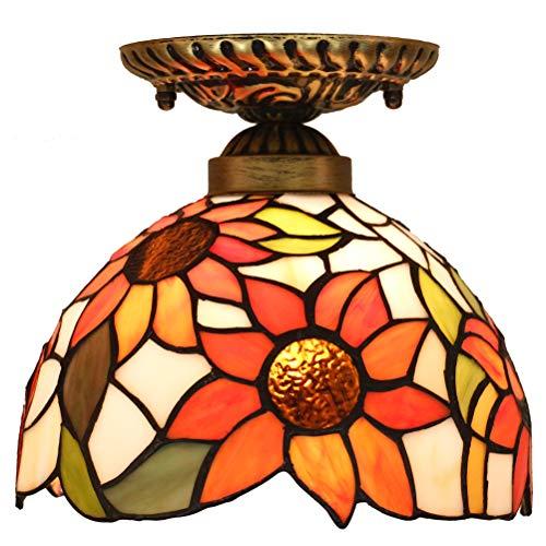 Odziezet Plafoniere Tiffany Vintage Girasole Pastorali di Vetro Macchiato Europea Mini Luce a Muro Illuminazione per Interni e Esterni Arancione- 8 Pollici