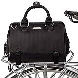 Po Campo Uptown Bike Trunk Bag | Stylish Bike Satchel That Fits Your Life | Attach to Rear Rack | 7 Pockets Including Tablet Sleeve | Shoulder Strap | Weatherproof Vegan Fabric | Black Herringbone
