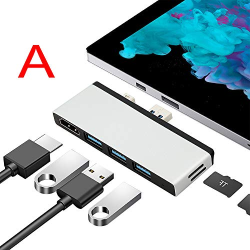 DZYQ Adaptador Hub C Tipo USB para Surface Pro 7, Superficie 4/5/6 con 1 Gbps RJ45, Surface Go, Surface Pro 4/5/6, Superficie Laptop1 / 2, Nacido para la expansión, 4-en-1/5-In-,A