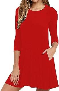 Women's Plain Simple 3/4 & Long Sleeve A-line Casual Swing T Shirt Pocket Dress