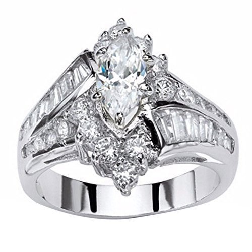 Cocktail Party Rings,Xjp Fashion Hand Jewelry Cut Diamond Engagement Anniversary Ring Jewelry Gift(Silver,10)