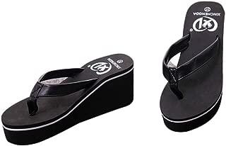 Gotd Women Slim Strap Flip Flop Bohemian Muffin Slope Wedge Heels Sandals Slide Platform Thongs Slipper Clip Toe Soft Girl Indoor Outdoor Beach Shoes (US:8, Black)