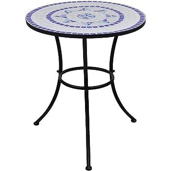 Robusta Telaio in Ferro,Tavolo da Bistro SOULONG Tavolo con Mosaico Tavolini da caff/è in Ceramica 60cm Tavolo di Mosaico da Balcone Giardino Bianco e Blu