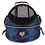 Pet Life 'Air-Venture' Dual-Zip Airline Approved Panoramic Circular Travel Pet Dog Carrier, One Size, Navy