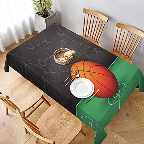 Mantel Rectangular,Vector de Baloncesto sobre Pizarra Negra,Mantel Lavable Resistente a Las Arrugas para Fiestas, Bodas, Cocina, Navidad, Cubierta de Mesa de Buffet 137x183cm