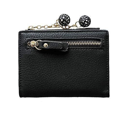 HZING PU Leather Short Wallet Card Holder Cash Pocket Purse with Cute Hollow Ball Pendant Design for Women