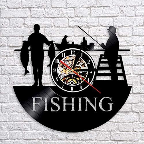 TIANZly Vinyl Fisherman Lake Scene Home Decoration Orologio da Parete al Quarzo Muto Pesca Orologio da Polso in Vinile Orologio retrò da Uomo