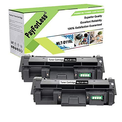 PayForLess MLT-D116L D116L Toner Cartridge for Samsung Xpress M2835dw M2885FW M2825DW M2875FW M2625D M2875FD M2625 2626 2825 2835 (2PK Black)