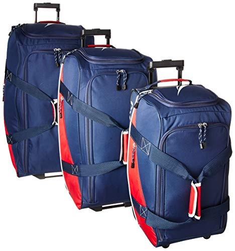 Nautica Wheeled Duffle Travel 3 Piece Large Rolling Lightweight Luggage Bags, Navy Red
