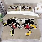 Funda de edredón individual de dibujos animados Minnie besando Mickey Mouse 2 piezas Juego de funda de edredón Funda de edredón 1 fundas de almohada 1 funda de edredón