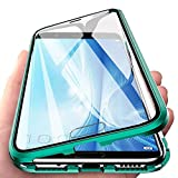 Eabhulie Huawei Honor View 10 Funda, Metal Bumper con Adsorción Magnética + 360 Grados Vidrio Templado Cobertura de Pantalla Completa Carcasa para Huawei Honor View 10 Verde