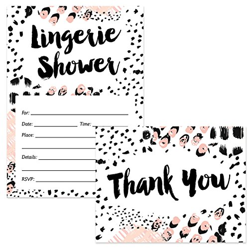 Lingerie Shower Invitations ( 25 ) & Thank You Cards ( 25 ) Matched Set with Envelopes Fun Bachelorette Party Bride Attendant Girls Night Out Fill-in Guest Invites & Folded Thank You Notes Great Value