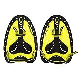 Paletas de Mano de Natación Entrenamiento de Buceo Ajustable Aletas de Mano Guantes(M-amarillo)