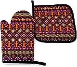 AlineAline Geometría Tribal Zulu o Azteca Máscara Iconos Mitt Horno y Pot Holder Set Calor, Manoplas de cocina resistentes para hornear barbacoa