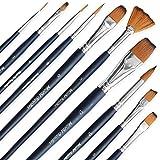 Estuche de pinceles Essentials para pintura de acuarela - Set surtido de 10, cerdas sintéticas, pinceles de calidad artística - Ideal para acuarelas, acrílico y gouache - MozArt Supplies