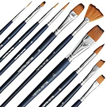 MozArt Supplies Watercolor Brushes – 10 Paint Brushes with Smooth Bristles – Watercolor Brushes Set for Artists, Kids, Students - Ideal for Acrylic Painting, Watercolor and Gouache Painting.
