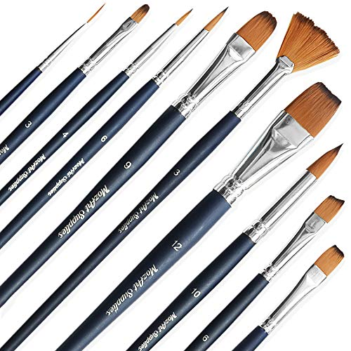 MozArt Supplies Essential Watercolor Paint Brush Set - 10 Assorted, Synthetic Bristles, Artist Grade Brushes - for Watercolor, Acrylic, Gouache Painting