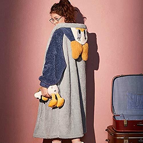 Kkoqmw Albornoz de Invierno Pijamas de Mickey Mouse de Dibujos Animados Pijamas con Capucha de Mujer Pijamas de Felpa Polar Pijamas de otoño e Invierno para el hogar Pijamas Gruesos