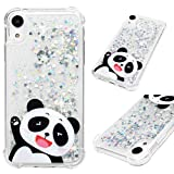 iPhone XR Case, Clear Liquid Glitter Case Drop Resistant Bling Shiny Sparkle Flowing Moving Hearts Shock Absorption Soft TPU Bumper Shell Ultral Slim Fit Colorful Painting Cover for iPhone XR - Panda