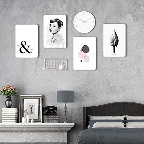 Ensemble de cadres photo, 4 ensembles de cadres de photo, combinaison créative avec horloge murale et cadre de fer (Couleur : F)
