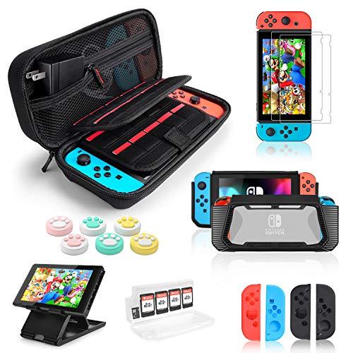 6 IN 1 Custodia per Accessori Nintendo Switch con Protezione per Schermo, Supporto da Gioco, Guscio Interruttore, Custodie Protettive per Joy-Con Controller