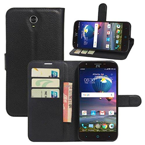 ZTE Warp 7 Case, ZTE ZMax Champ Case, ZTE ZMax Grand Case, ZTE Grand X3 Case, ZTE Avid 916 Case, Fettion Premium PU Leather Wallet Flip Phone Protective Case Cover for ZTE Grand X3 Smartphone (Black)
