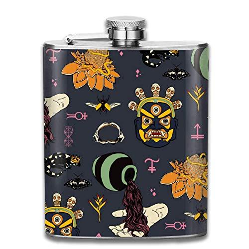 Carnevale Halloween Modello Moda Bottiglia di whisky portatile in acciaio inossidabile Fiaschetta per uomini e donne 8 Oz