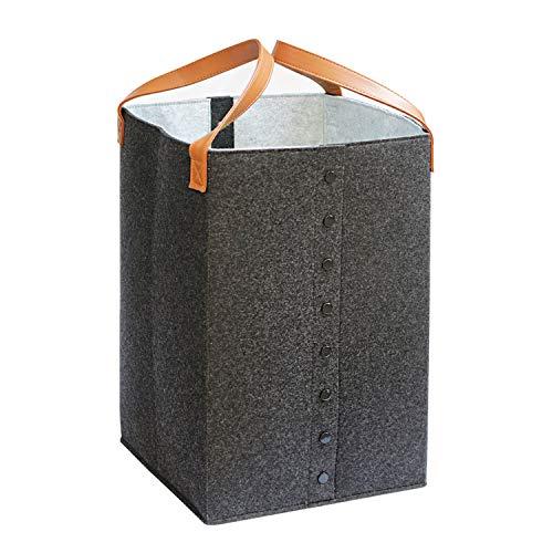 JSVER Wäschekörbe Faltbare Wäschesammler Fliz mit Griffen Wäschesortierer Wäschesack für Kleidung,Spielzeug, Organisation-Grau