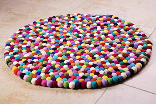Filzkugelteppich bunt, Ø 60cm, 100% Schurwolle, handgefertigt, robust und hochwertig