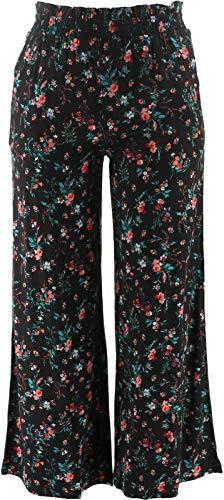 Du Jour Printed Floral Pants Track Stripe Black XL New A367909