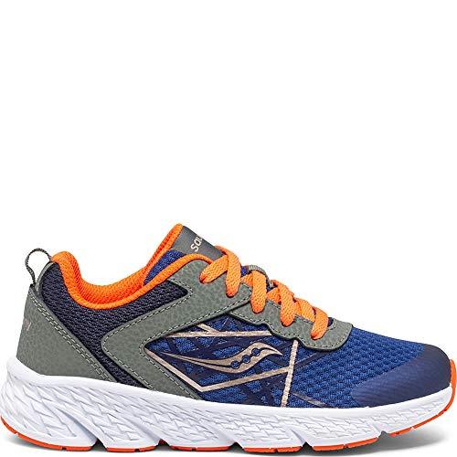 Saucony unisex child Wind Sneaker, Olive/Navy/Orange, 3.5 Wide Big Kid US