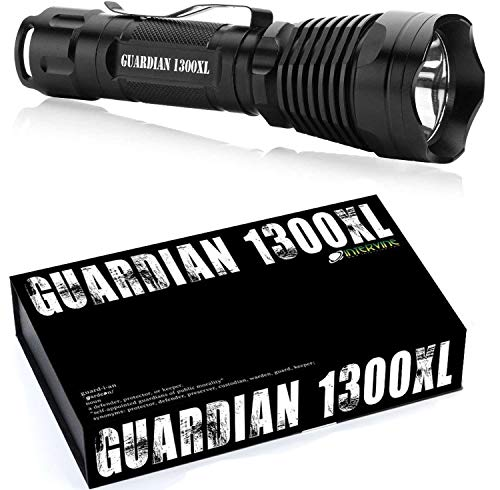 Internova Guardian Rechargeable Tactical Flashlight - 1300XL - Professional Series High Lumen LED Rechargeable Flashlight with Remote Pressure Switch - Rechargeable 18650 & Backup AAA Batteries