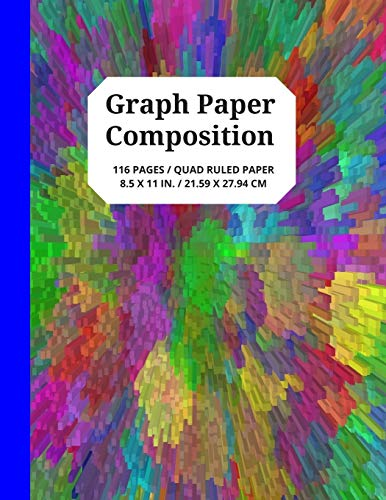 Graph Paper Composition: 5x5 Grid Paper Notebook with Unique, Multicolored Cube Design Book Cover, 116 Quad Ruled Pages for Student Projects, Games and More, 8.5 x 11 Inches