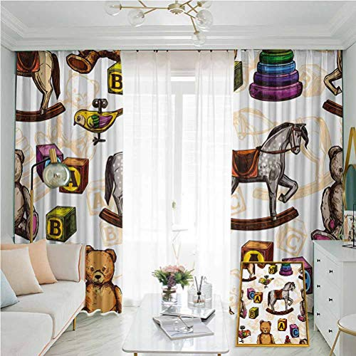 Annery Vintage Sunshade, Sunscreen Curtain, Retro Style Kids Toys Rocking Horse Teddy Bear and Bird Illustration Print Soundproof Shade W52 x L84 Inch Brown and Grey