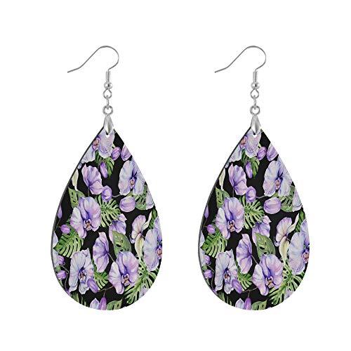 ADMustwin Wooden Earrings Flower Floral Leaves Print for Women Girls Silver Plated Copper Earrings Teardrop Earrings Lightweight Dangle Earrings Fashion Jewelry