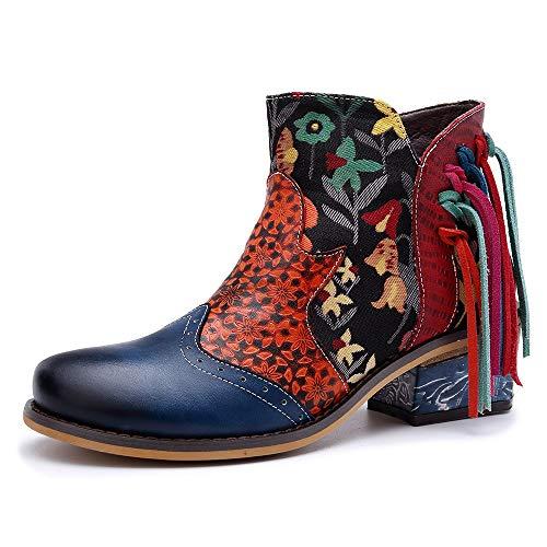 Ruanyi Botas de Mujer, Nuevo Estampado de Flores de Cuero con Borla decoración Estilo Casual Moda Botas de Vaquero para Damas (Color : Blue, Size : 38EU)