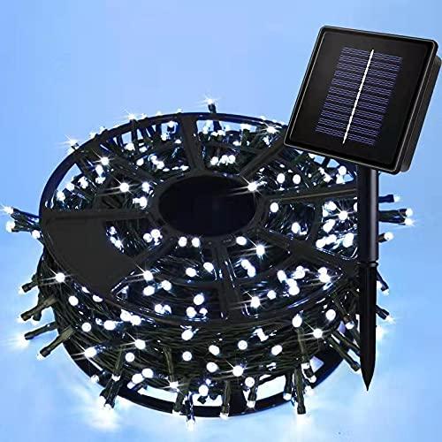 JMEXSUSS Solar String Light 600LED 206.7ft 8 Modes Solar Christmas Lights Waterproof Outdoor Fairy String Lights for Gardens, Wedding, Party, Christmas Tree,Xams,Outdoors (600LED,White)