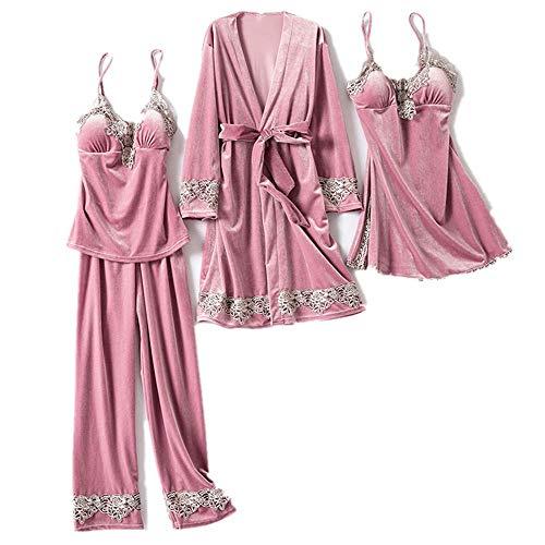 Pijama pijama de terciopelo dorado de cuatro piezas para mujer de la primavera y el otoño