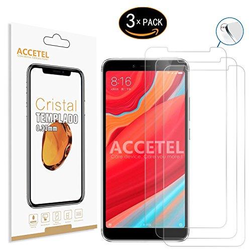 Accetel Protector de Pantalla Compatible con Xiaomi Redmi S2 Protector Cristal Vidrio Templado para Xiaomi Redmi S2 5.99'' Pulgadas Transparente 3-Pack