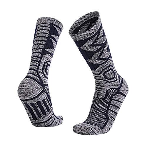 MARIJEE Warm Thermal Wool and Cotton Slipper Socks Non-Slip Warm Winter Fleece Socks Christmas Gift (Blue)