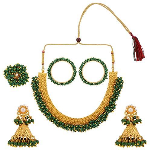 Efulgenz Joyería india Bollywood con cuentas de perlas sintéticas, collar y pendientes y anillo, juego de joyas para mujeres y niñas