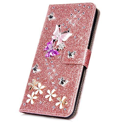 Surakey - Funda de piel sintética para Samsung Galaxy J5 2016, brillante, brillante, con diamantes de imitación y ranuras para tarjetas, color oro rosa