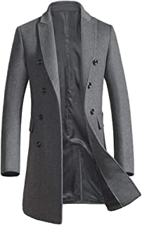 Men's Premium Double Breasted Woolen Pea Coat Notched Collar Overcoat