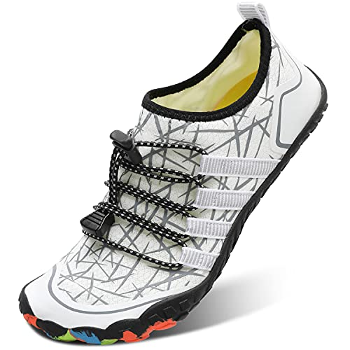 L-RUN Womens Water Sports Shoes Barefoot Beach Shoes White Women 8, Men 6.5 M US