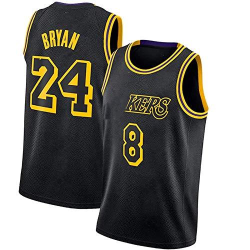SXGX Kóbe-Láker Conmemorativa 8# 24# Jersey de Baloncesto, Camiseta de Baloncesto para Hombre, Camisa Bordada de los Hombres, Equipo de Baloncesto, Fan de Deportes jers Black-L