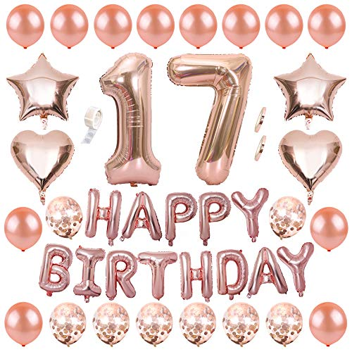 Ceqiny 17th Birthday Decoration Rose Gold Happy Birthday Banner Balloon Set Rose Gold Number 17 Balloon Confetti Latex Balloon Rose Gold Star Heart Foil Balloons Party Supplies for Girls Women