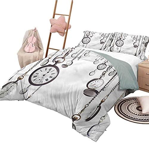 Juego de edredón para ni?os, Tama?o Completo, Antiguo, Divertido, para Dormir, a la Moda, Antiguos Relojes de Bolsillo Vintage